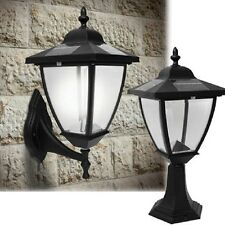 2 Black Aluminum Solar Fence Gate Lamp Post Lights For Wood Mason Brick Wall