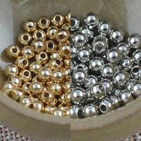 100X Versilbertes Runde Spacer Beads Crafts 3.0Mm Xdd B4L2