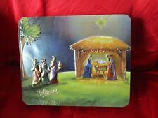 WHITMAN'S CHRISTMAS CANDY HINGED/EMBOSS TIN/BOX~MANGER SCENE~3 WISH MEN~JESUS