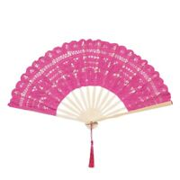 Lace Folding Handheld Fan Embroidered Bridal Hand Fan with Bamboo Staves foV2B7