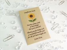 Personalised Sunflower Seeds Thank You Gift for Teacher Present End of Term