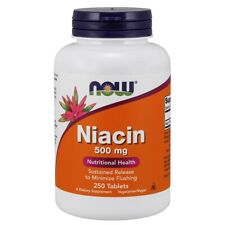 Now Foods Niacin 500 mg - 250 Tablets, FRESH Made In USA