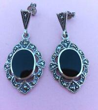 Vintage Sterling Silver, Marcasite & Oval Black Onyx Earrings For Pierced Ears