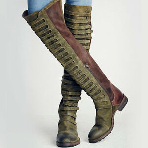 Women's Vintage Suede Over The Knee Boots Round Toe Combat Boots Flat Biker Shoe