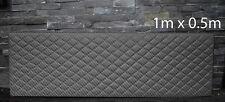 BLACK CARBON VINYL WITH PADDED DIAMOND STITCH 1Mx0.5M UPHOLSTERY FURNITURE AUTO