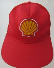 Shell Oil Trucker Logo Snapback Red Cap Hat Advertising Mesh B2