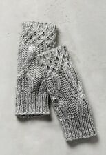 NWT Anthropologie Bettina Gray Cable Knit Silver Met Fingerless Glove Arm Warmer