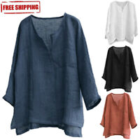 Men's Breathable Comfy Cotton Linen Long Sleeve Loose Casual T Shirt Tops Blouse