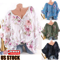 Women Floral Batwing Short Sleeve Loose T-Shirt Ladies Summer Casual Blouse Tops