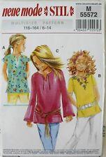 Neue Mode STIL 55572 Girls Tops Tunics Sewing Pattern Sz 6-14