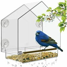 Window Bird Feeder - Large House For Outside. Removable Sliding Tray Drain Best