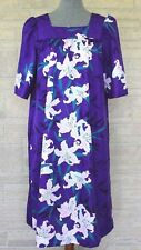 Hilo Hattie Size Medium Purple Floral Flower Muumuu Made in Hawaii