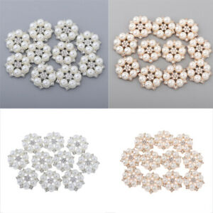 10 Pieces Pearl Rhinestone Flat Back Buttons Wedding Embellishments Crafts