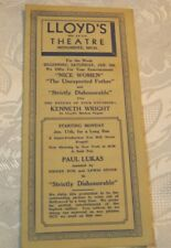 1930's Vintage Lloyd's Theatre  Program Menominee Mich Theater