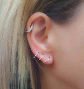 Thin Cartilage Earring Tragus Ring Helix Hoop Stud Ear Cuff Silver Ear Hoops 0.6