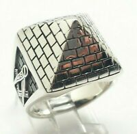 Egyptian Pyramid Signet Sterling Silver 925 Ring 11g Sz.9.75 KWD434d