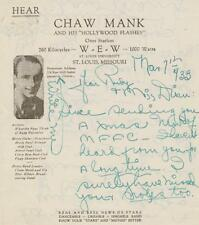 RADIO STAR CHAW MANK SIGNED LETTER FROM 1933 TO MOVIE STAR RUDY VALLEE