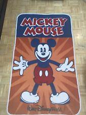 Walt Disney World Park Mickey Mouse Orange Navy Red Fleece Throw Blanket Vintag