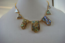 House Of Harlow 1960 Abalone Station Necklace New