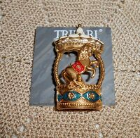 Vintage TRIFARI Signed Enamel Horse Carousel Trembler Brooch Pin Gold Tone A238