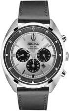 Mens Seiko Solar Black Leather Silver Dial Chronograph Date Watch SSC569