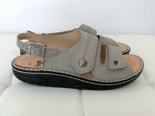 NEW! FINN COMFORT Size 41 10 - 11 Gray Leather Suede Sandals Shoes Flat Women's