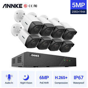 ANNKE H.265+ 8CH PoE NVR 5MP HD Video Outdoor IP Camera Security System Audio in