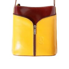 TJS Genuine Leather Crossbody Handbag Handmade in Italy Florence Yellow Brown
