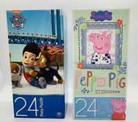 "Lot of 2 Kids Jigsaw Puzzle 11"" x 15"" Paw Patrol & Peppa Pig 24 pieces ea. New"