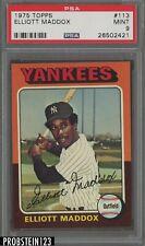 1975 Topps #113 Elliot Maddox New York Yankees PSA 9 MINT