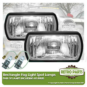 Rectangle Fog Spot Lamps for Saab 9000. Lights Main Full Beam Extra