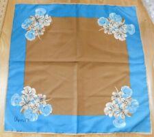 Vintage Vera Neumann Scarf~Brown/Blue Ladybug Signed Floral/Flowers Square