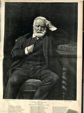 Portrait Victor Hugo Tableau  Léon Bonnat Peintre Photo Braun 1879 ILLUSTRATION