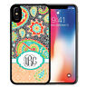 Monogram Case Fits iPhone XR XS MAX X 8 7 6s Plus Dark Teal Paisley