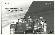 """2010 Audi Racing R15 LMP1 """"Register To Win"""" Petit Le Mans ALMS handout"""