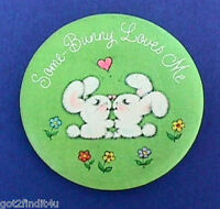 Hallmark BUTTON PIN Easter Vintage RABBIT Some BUNNY LOVES ME Holiday Pinback