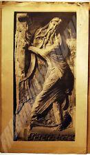 PHOTOGRAVURE PERSE sur PAPIER FORT STATUE d'HOMME MOYENNAGEUX fin XIXè/début XXè