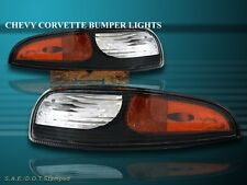 97-04 CHEVY CORVETTE 2-DOOR BUMPER SIGNAL LIGHTS AMBER REFLECTOR BLACK HOUSING