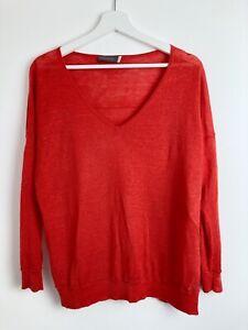 Mint Velvet Womens NWOT 100% Linen Red V-Neck Long Sleeve Jumper Size 10