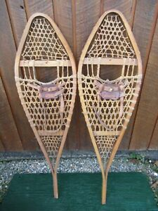"""VINTAGE GREAT SNOWSHOES 48"""" Long x 14""""  with Leather Bindings READY TO USE"""