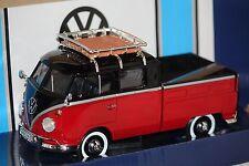 VW T1 Doppelkabine Pick up m.Dachträger rot-schw. 1:24 Motormax 79552 neu & OVP