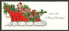 Vintage 1965 Christmas Card Sleigh Full of Toys & Gifts Old Doll Teddy Bear Trum