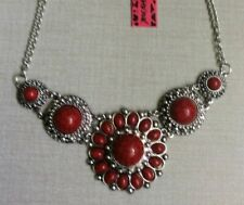 Betsey Johnson Silver Necklace Red Gemstones Pendant Unique Designer Style New!