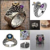 Vintage 925 Silver Citrine Ring Women Amethyst Gemstone Proposal Jewelry Sz 6-10
