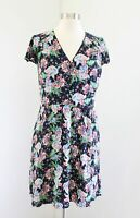 J Crew Button Front Shirt Dress in Island Floral Size 8 Cap Sleeve Pockets Blue