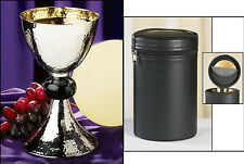 Hammered Chalice and Paten Set with Zipper Closed Holding Case