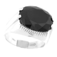 Oval Jet Black Stone Sterling Silver .925 Ladies Ring Size 6