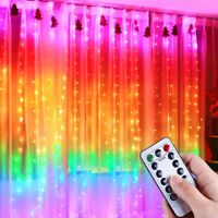 3M 300LED Rainbow Curtain Window Fairy String Light Bedroom Wedding Xmas Decor