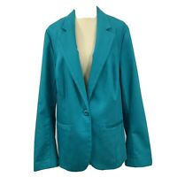 NWT Lane Bryant Womans One Button Lined Blazer Plus Size 18 Turquoise