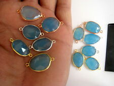 10 Pieces Aqua Blue Chalcedony Gold/Rose Gold/Silver Jewelry Bezel Connectors